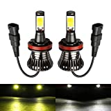 yellow h11 fog lights - H11 H8 H16(JP) Fog LED Light Bulbs Amber Yellow 3000K White 6000K Dual Color for Trucks Cars Lamps DRL Daytime Light Kit Replacement Bulbs 12V 30W 2800LM Super Bright COB Chips 1 Year Warranty【1797】