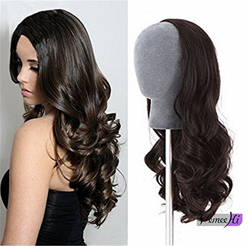 Remeehi 3/4 Half Wig Brazilian Remy Human Hair Wigs Body Wave Clip in None Lace Half Wig(15