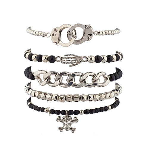 Lux Accessories Handcuff Hand Cuff Skeleton Hand Skull & Bones Crossbones Arm Candy Bracelet Set (Candy Skull Costume)