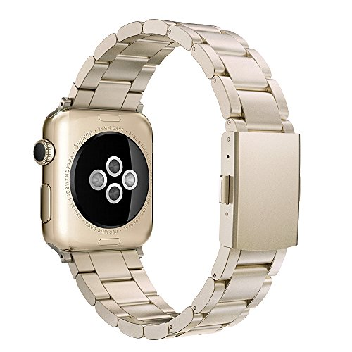 Price comparison product image Simpeak Solid Stainless Steel Band Strap for Apple Watch 42mm Series 1 Series 2 Series 3 - Champagne Gold