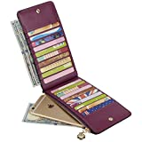 Yaluxe Women's Genuine Leather Multi Card Organizer Wallet with Zipper Pocket (Gift Box) Dark Purple