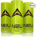 NEU Extra Strength Nootropic Energy Shots, Energy Drink: Brain Booster Focus Supplement, Coffee Alternative Nutritional Drink + Pre Workout with Zero Sugar - Tropical 2oz (12 pack)
