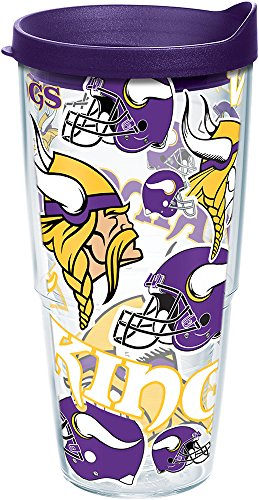 Tervis 1248093 NFL Minnesota Vikings All Over Tumbler with Wrap and Royal Purple Lid 24oz, Clear