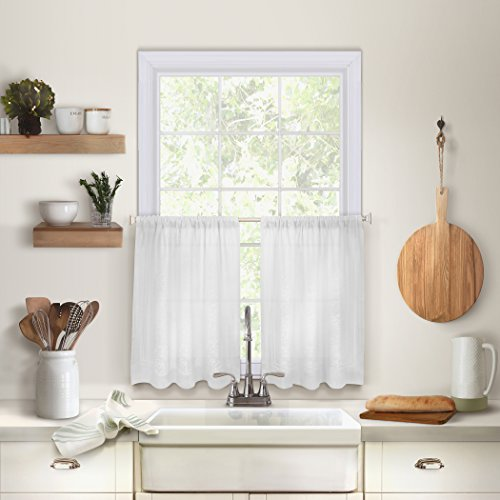Elrene Home Fashions 26865775112 Solid Hemstitched Rod Pocket Café/Kitchen Tier Window Curtain, Set of 2, 30