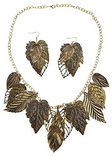 Isabella's Journey Women's Fashion Bronze Leaf Chain Necklace Earrings Set, IJJWCG 30+3.5