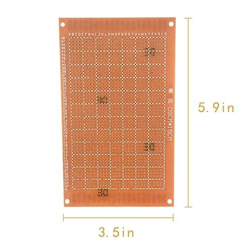 MCIGICM 5Pcs Prototype Paper Copper PCB Universal Experiment Matrix Circuit Board (3.5 x 5.9 inch)
