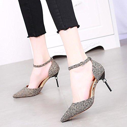SSBY Un 8 5 Cm Con Una Fina Los Zapatos De Tacón Alto Zapatos Primavera Nueva Sexy Diamante Una Hebilla Todo El Partido black