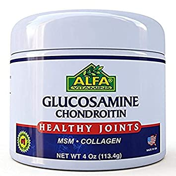 ALFA VITAMINS Glucosamine & Chondroitin 4 Oz Cream With MSM & Collagen | Natural Cream For