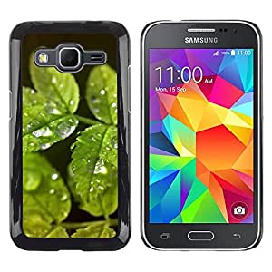 Exotic-Star ( Green Water Drop Leaves ) Fundas Cover Cubre Hard Case Cover para Samsung Galaxy Core Prime / SM-G360