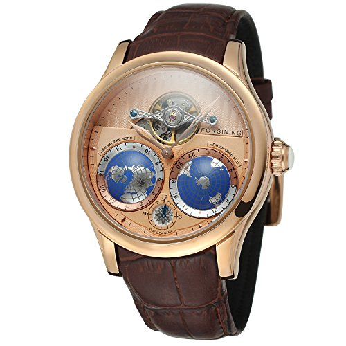 FORSINING Men's Brand Automatic Movement Stainless Steel Case World Map Dial Wrist Watch FSG9413M3R3