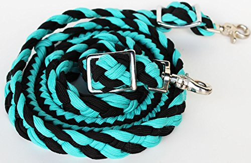 PRORIDER Roping Knotted Horse Tack Western Barrel Reins Nylon Rein Black Turquoise 607119