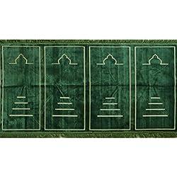 Prayer Rug - Wide 4 Person Velvet Namaz Sajadah Mosque Carpet Solid Dark Green