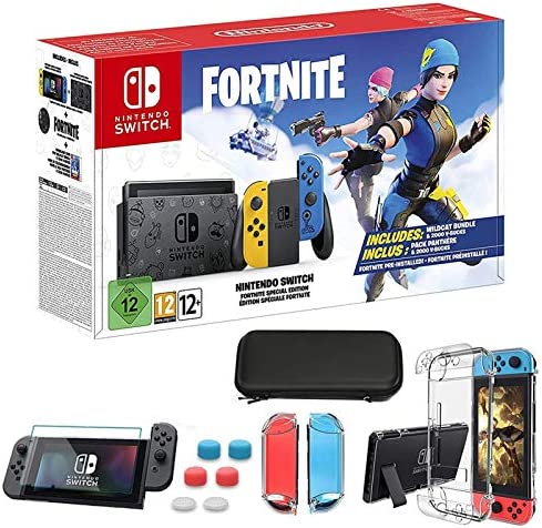 "2020 Nintendo Switch Wildcat Edition with Yellow and Blue Joy-Con- Built-in Speakers, 6.2"" Touchscreen LCD Display, Bundle with TSBEAU 9-in-1 Carrying Case Accessories"