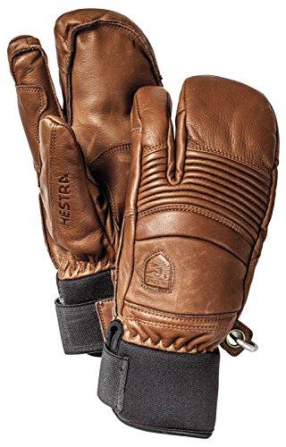 Hestra Mens Ski Gloves: Fall Line Winter Cold Weather Leather 3-Finger Mittens, Black, 10
