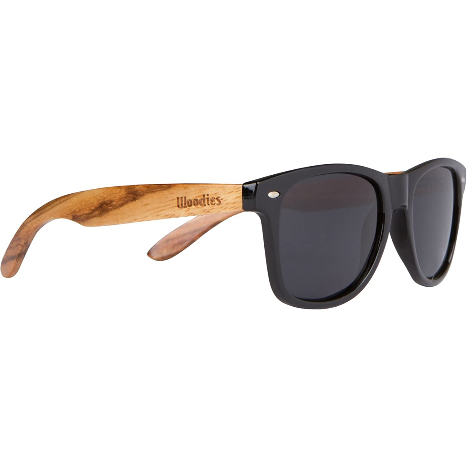 Woodies Zebra Wood Wayfarer Sunglasses With Black Polarized Lenses by Woodies