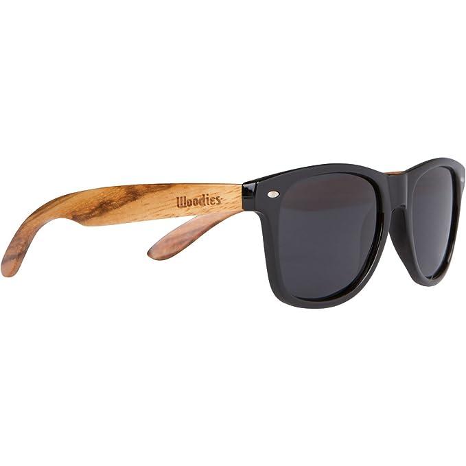 Woodies cebra Wayfarer Gafas de sol de madera de color negro polarizadas lentes