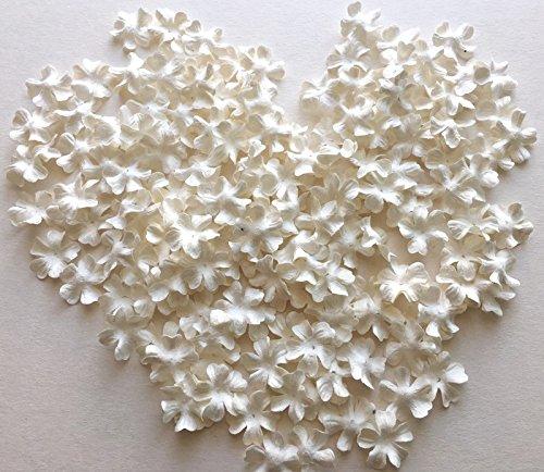 ICRAFY 150 Die cut Petal Flower Mulberry paper White , Pastel Tone , Rainbow Tone 150 Pcs. Size 20 mm. (White)