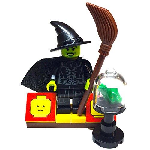 MinifigurePacks: Lego Halloween Bundle (1) Wizard of Oz Wicked Witch Minifigure (1) Figure Display Base (2) Figure Accessory's (Terrarium w/Toad and Broomstick) (Lil B Halloween)