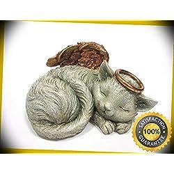 KARPP Pet Memorial Angel Cat Sleeping Cremation Urn Statue Bottom Load 30 Cubic Inch Perfect Indoor Collectible Figurines