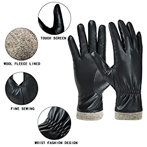 Winter Leather Gloves for Women, Wool Fleece Lined Warm Gloves, Touchscreen Texting Thick Thermal Snow Driving Gloves by REDESS (7.5 (L))