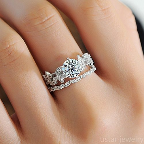 sandywident Unique Leaf Design 925 Plating Silver White Sapphire Diamond Wedding Engagement Ring - Sapphire Diamond Ring Engagement