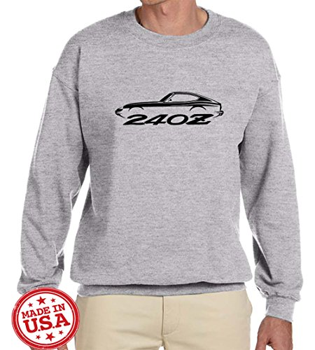 Datsun 240Z Sports Car Outline Design Sweatshirt XL grey