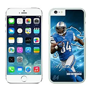 Detroit Lions Ryan Broyles iPhone 6 Cases White 4.7 inches-[Non-Slip] [Exact-Fit] Lifetime Warranty,easily install with maximum protection,Ultra Fit Hard Case Shock-Absorption Bumper with Anti-Scratch Hard Case for iphone 6