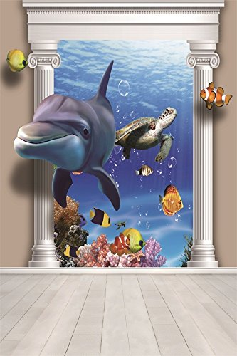 OFILA 3D Aquarium Background 3x5ft Marine Animals Dolphin Fish Turtle Coral Reef Newborn Baby Photos School Event Pupils Shoots Little Girls Portraits Kids Birthday Toddlers Boys Shooting Video Props