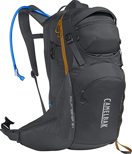 - CamelBak Fourteener 24 100 oz Hydration Pack, Charcoal/Rust Orange