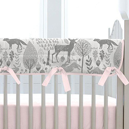 Carousel Designs Pink and Gray Woodland Crib Rail Cover by Carousel Designs