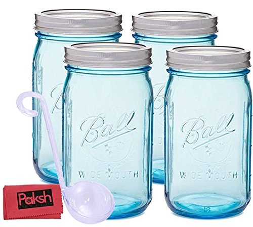 Beautiful Blue Mason Jars with Lids 32 oz. Wide Mouth Quart Size [4 Pack] Glass Canning Jars for Canning & Storage, Crafts & Décor - Bundled with Ladle & Cloth