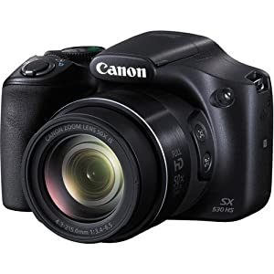 Canon PowerShot SX530 HS Digital Camera with 50x Optical Image Stabilized Zoom with 3-Inch LCD HD 1080p Video (Black)+ Extra Battery + 24GB Class 10 Card Complete Deluxe Accessory Bundle And Much More from Canon