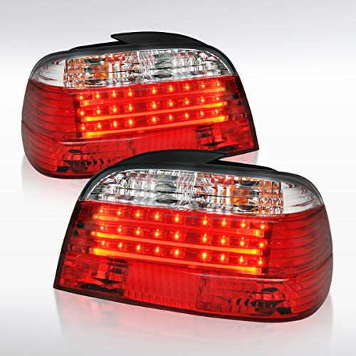 Autozensation For BMW E38 7-Series 740i 750iL Red Clear LED Tail Brake Lights Pair