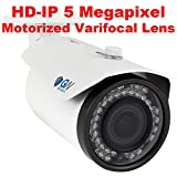 GW Security 5MP 2592 x 1920 Pixel 4X Optical Zoom H.265 Outdoor PoE 1920P Security IP Camera with 2.8-12mm Varifocal Motorized Zoom Len and 40Pcs LED up to 130FT IR Distance (White)