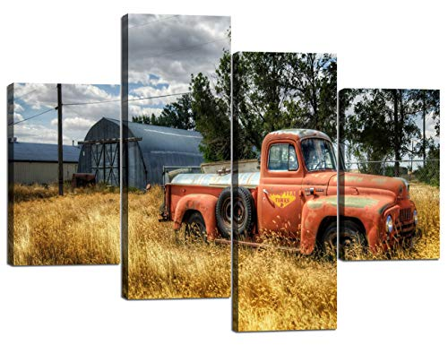 (4 Panel Wall Art Old Vintage Truck in Trees and Dry Grasses in Field Painting Pictures Print On Canvas Car The Picture for Home Modern Decor of 4 Piece Stretched by Wooden Frame(48''Wx36''H))