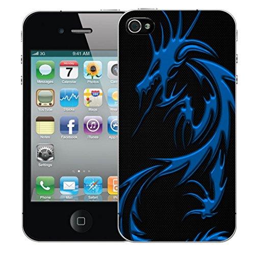 Mobile Case Mate iPhone 5s clip on Dur Coque couverture case cover Pare-chocs - blue dragon Motif avec Stylet