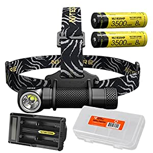 Premium Bundle: NITECORE HC33 1800 Lumen High Performance Versatile L-Shaped LED Headlamp with 2x 3500mAh 8A 18650 Battery UM20 Battery Charger and Lumen Tactical Battery Organizer