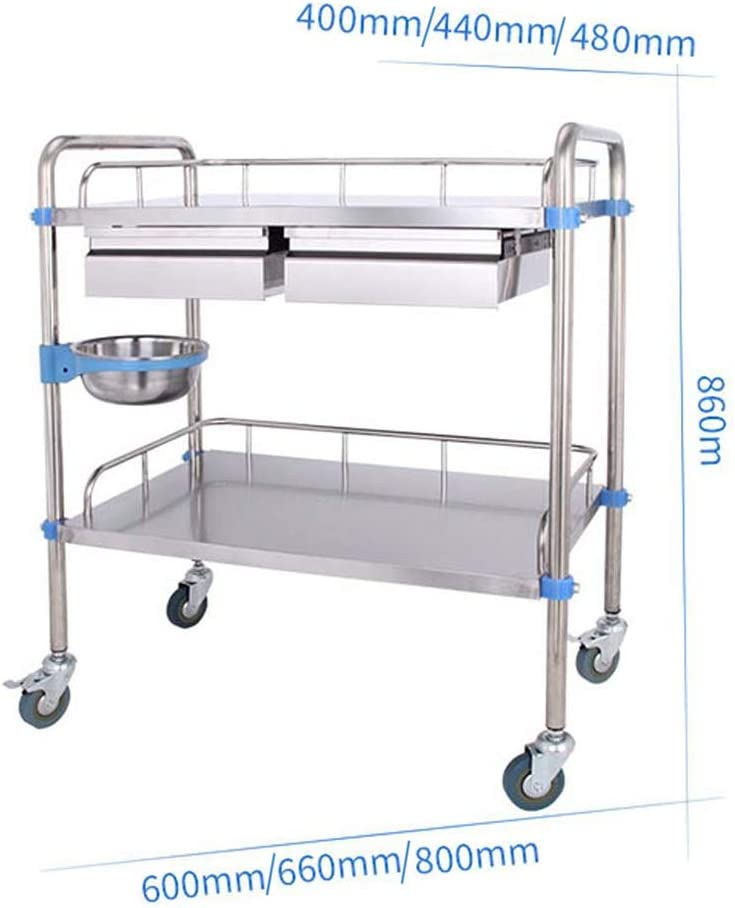Assemble The Surgical Hand Trucks Rescue Vehicle Instrument Change Vehicles Stainless Steel Medical Trolley with Drawers Mobile Treatment Carts