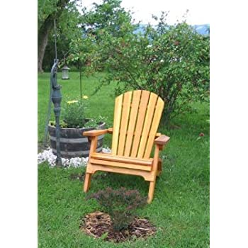 Attractive Folding Cedar Adirondack Chair W/stained Finish, Amish Crafted Design
