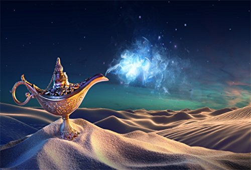 AOFOTO 10x7ft Aladdin's Genie Lamp In Desert Backdrop Magic Lantern Smoke Photography Background Fantasy Wish Mysterious Luck Mythology Arabian Nights Fairy Tale Photo Studio Props Children Wallpaper
