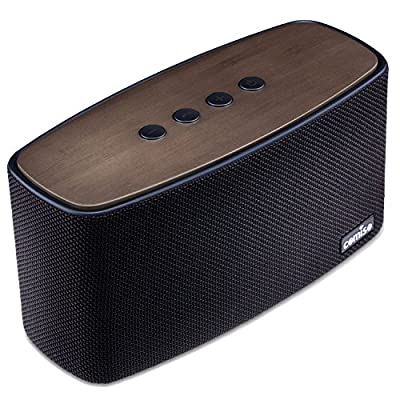 COMISO 30W Bluetooth Speakers with Super Bass, Bamboo Wood Home Speaker with Subwoofer