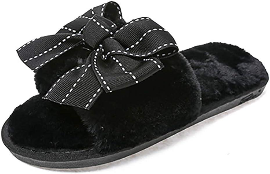 0749933cb77 Amazon.com | NOMIMAS Fashion Bow Slippers Women Faux Fur Short Plush ...