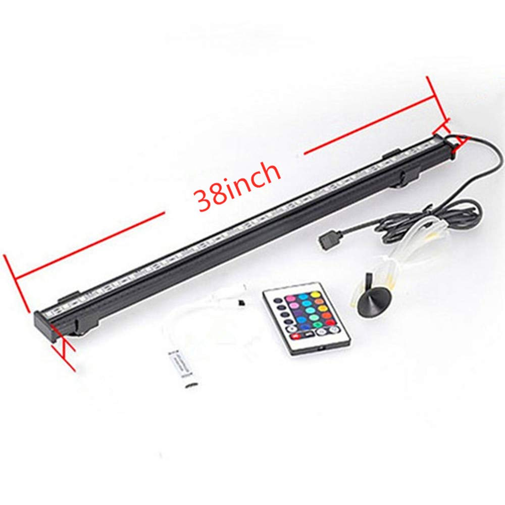 38inch QPSON Suitable for 12Inch and above Fish Tank Aquarium Lights colorful Remote Control Diving LED Bubble Light (26inch)