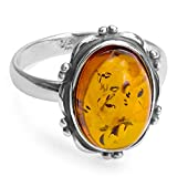 Amber Sterling Silver Classic Oval Ring