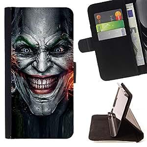 BullDog Case - FOR/Samsung Galaxy S4 IV I9500 / - / Evil Joker Villain Face /- Monedero de cuero de la PU Llevar cubierta de la caja con el ID Credit Card Slots Flip funda de cuer