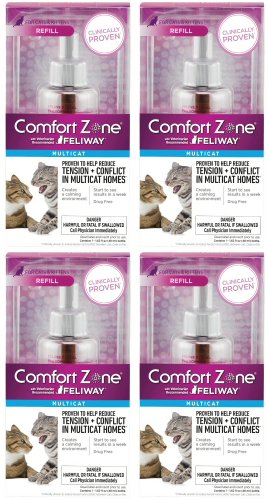 Comfort Zone Multicat Diffuser qCGhbb Kit, For Cat Calming, Refill (4 Units) by Comfort Zone
