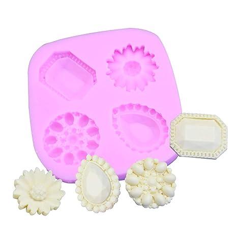 Nikgic - Molde de Pastel Silicona - Joyas de Flores en Forma de Diamante - Molde