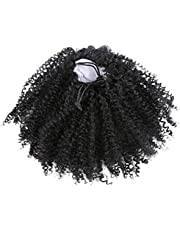 Solustre Afro Black Kinky Curly Ponytail Hair Extensions Clip in Drawstring Ponytail Puff Drawstring Hairpieces Wig