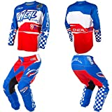 O'Neal Element Afterburner Blue/Red/White motocross MX off-road dirt bike Jersey Pants combo riding gear set (Pants W36/Jersey Large)