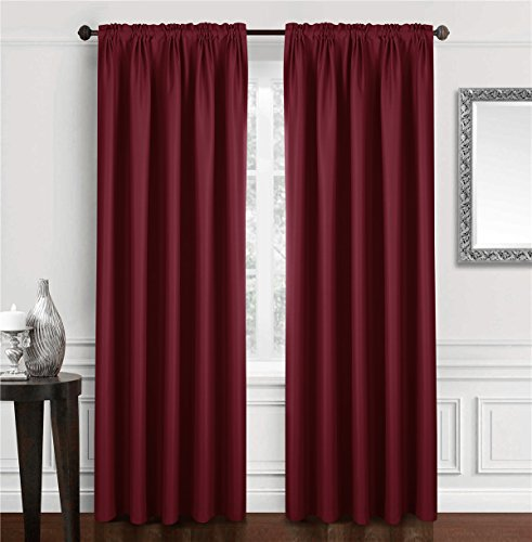 Dreaming Casa Solid Room Darkening Blackout Curtain for Bedroom 84 Inches Long Draperies Window Treatment 2 Panels Burgundy Rod Pocket 2(42